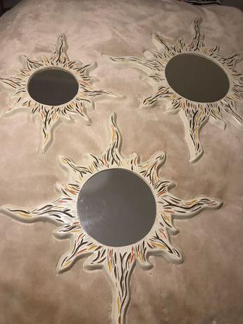 3 espelhos em forma de Sol em madeira feitos à mão-