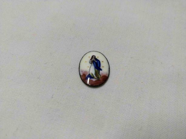 """Antiga medalha em esmalte """" Nossa Senhora da Conceição"""