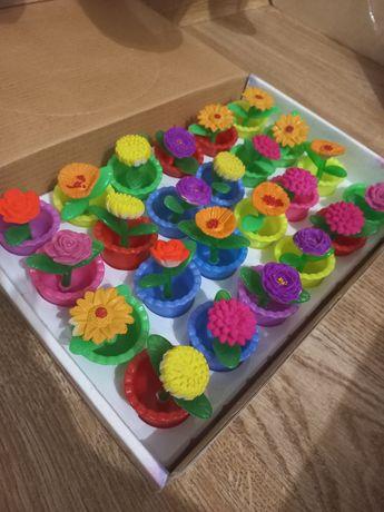Цветы в горшочках игрушечные растушие от воды 24 шт
