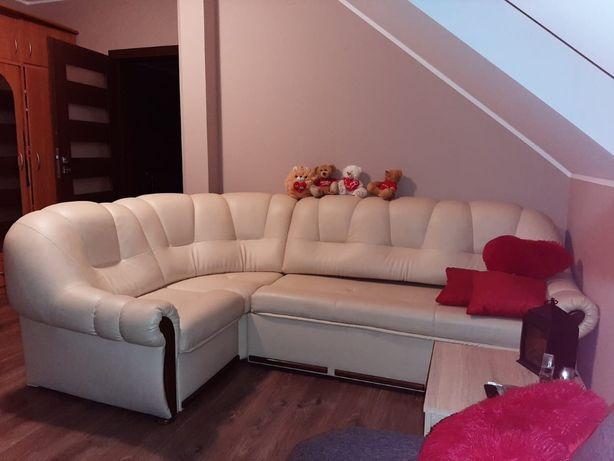 Narożnik, sofa skórzana rozkładana beżowa