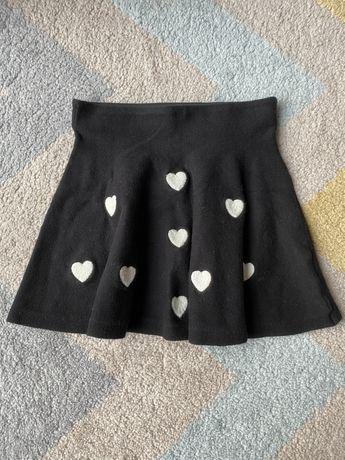 Spodnica spodniczka H&M 122 czarna w serduszka, ciepla, wygodna