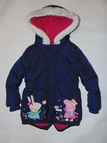 Теплая деми куртка, парка со свинкой пеппой от Nutmeg, будет на 1-2 г