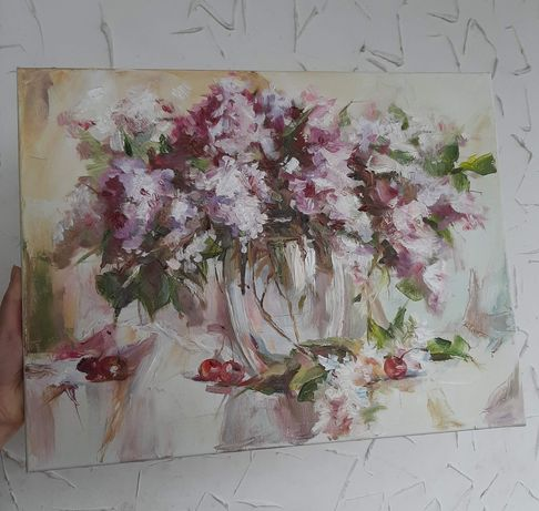 Картина маслом, картина масляными красками, картина сирень, натюрморт
