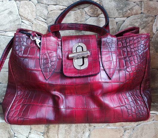 Włoska skórzana bordowa torebka kuferek Borse in Pelle