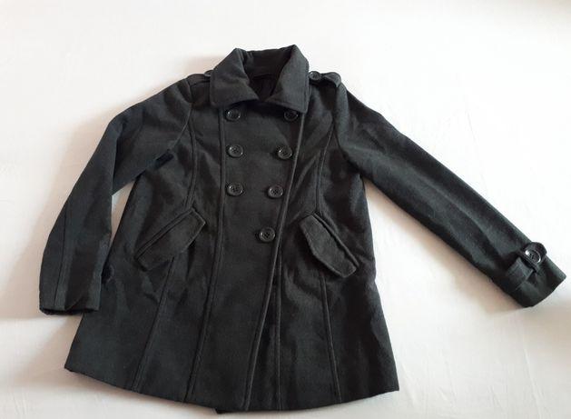 Wełniany płaszcz OKAY siwy, szary kurtka