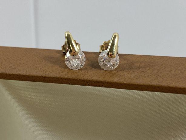 Piękne złote kolczyki z cyrkonią 2,3G / 585