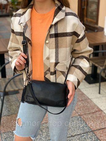 Женская кожаная сумка на через плечо черна капучино бордовая жіноча шк