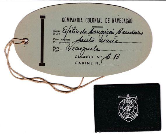 Companhia Colonial de Navegação = etiqueta de bagagem + carteirinha