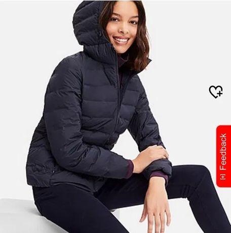 Ультралегкая бесшовная черная пуховая куртка пуховик капюшон Uniqlo