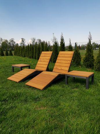 Leżak ogrodowy drewniany z regulowanym oparciem