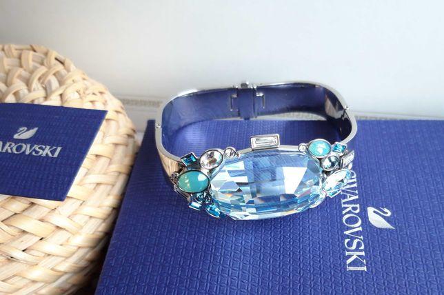 Swarovski bransoletka, duży kryształ, błękit.