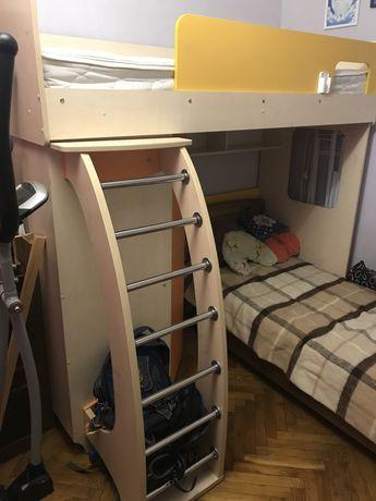 Детская двухъярусная кровать 80х190 см с встроенным шкафом
