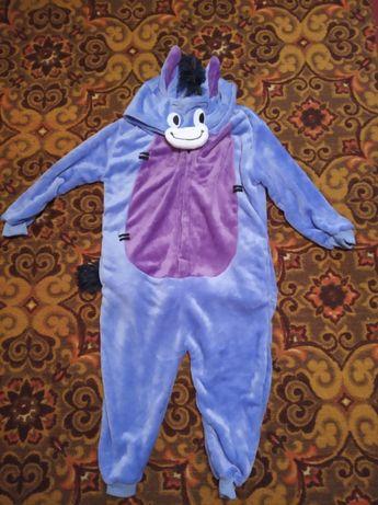 Кигуруми ослик, плюшевая пижама, на 4-6 лет и на рост 160.
