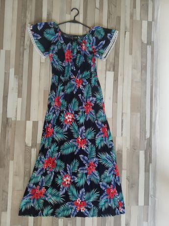 Sukienka długa , kwiatowa , hiszpanka