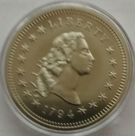 replika srebrnego dolara liberty z 1794 roku
