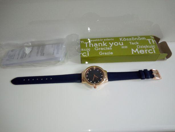 Yves Rocher zegarek damski kryształki Swarovski nowy, granatowy pasek