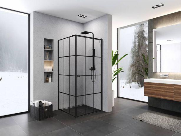 Kabina prysznicowa Superia black 90x90cm uchylna czarna, wzór kratka