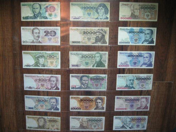 Zestaw 18 sztuk banknotów z czasów PRL oryginalne