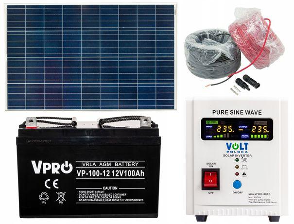 Panele fotowoltaiczne zestaw panel 150W 12V inwerter aku (ZES10)