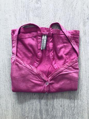 bluzka guess, różowa, koszulka, top, bokserka, rozmiar M