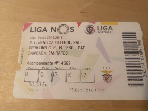 Bilhete Benfica 0 Sporting 3 Estádio da Luz Jesus Rui Vitória