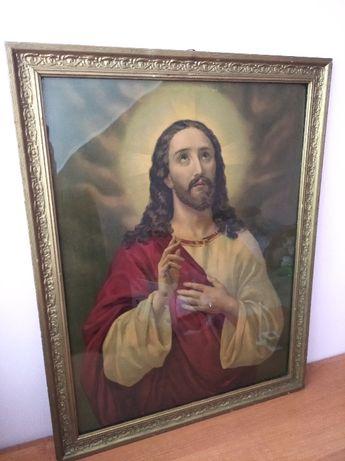 Zabytkowy obraz religijny w drewnianej ramie