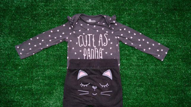 Zestaw komplet spodnie kotki body długi rękaw rozmiar 80/86