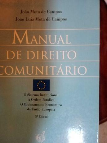 """Livro"""" Manual de Direito Comunitário"""" - portes de envio pagos"""