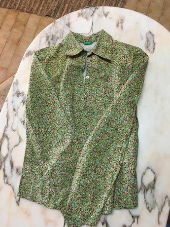 Camisa menina BENETTON verde motivo floral 12/14 anos
