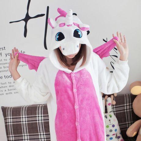 Пижама Кигуруми Единорог бело розовый с крыльями • Оригинал • футужама