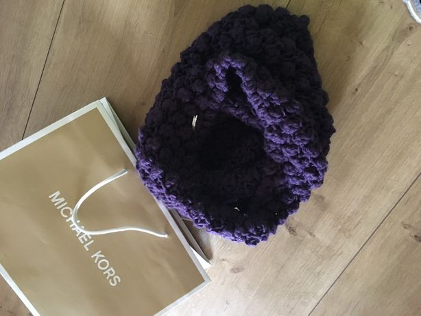 Komin szalik Michael Kors jak nowy ciemny fiolet + papierowa torba