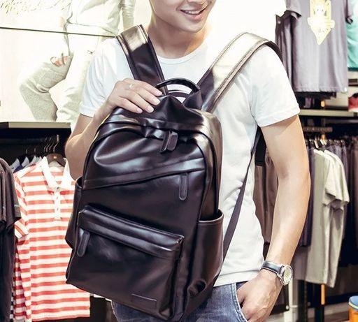 Качественный городской мужской вместительный большой рюкзак эко кожа