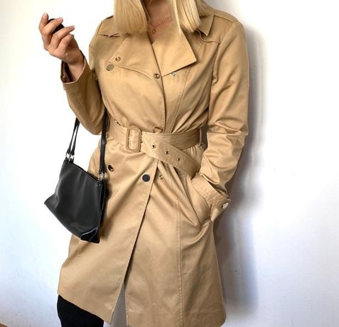 Nowy płaszcz jesienny Zara Miss Selfridge L 40 jasny beżowy brązowy