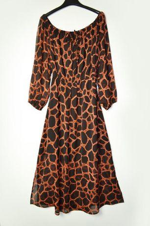 Длинное шифоновое платье в принт