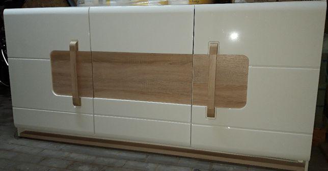Komoda ATTENTION EXCLUSIVE 3D biały połysk/drewno z oświetleniem