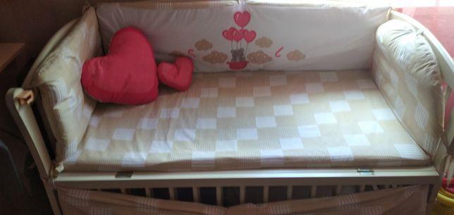 Ліжко дитяче колиска з шухлядою,Labona слонова кістка з маятником.буко