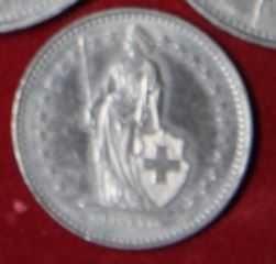 moneta 1 frank szwajcarski 1991 r