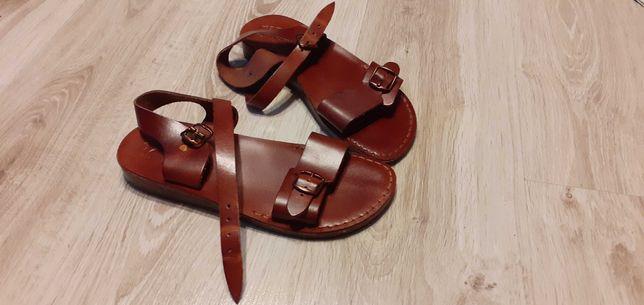 Bordowe skórzane sandały rozmiar 41 (podeszwa-27cm) NOWE