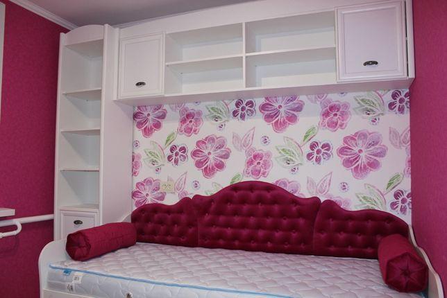 Детская комната для девочки кровать, пенал, полка, шкаф 2дверный Новая