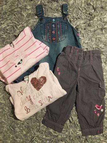 Zestaw ubranek 104-110 bluzy spodnie sukienka