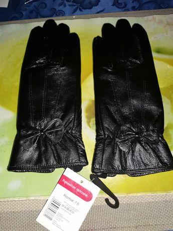 Rękawiczki skórzane 100% skóra nowe damskie