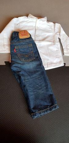 Spodnie Levis nowe 12 m-cy 75-80 cm, koszula reserved,koszulka tommy