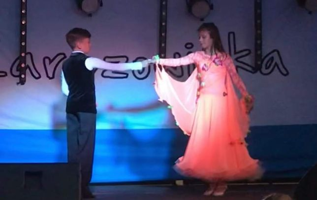 Sukienka standard taniec towarzyski 146-158 roz łosoś