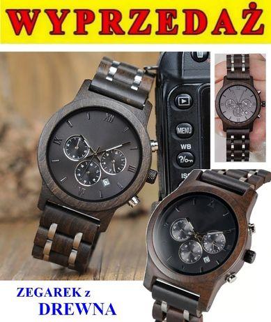 UNIKAT nowyy DREWNIANY zegarek MĘSKI komunia na PREZENT