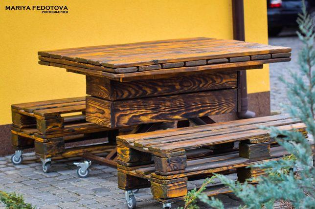 Садовая мебель, столы, лавки угловые диваны, кованные вешалки дровница