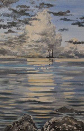 Картина маслом. Море и облака