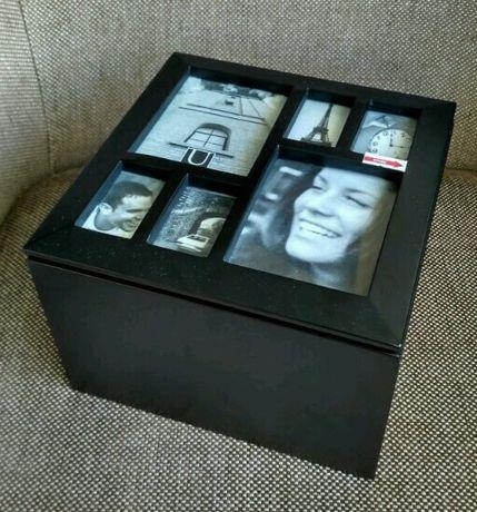 Caixa de madeira com tampa porta-retratos