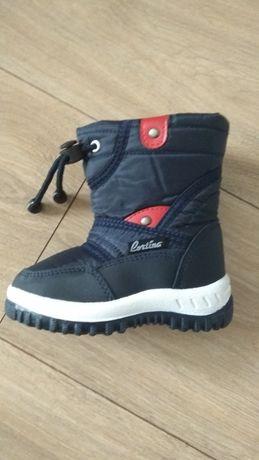 Buty zimowe śniegowce dziecięce chłopięce 22 granatowe