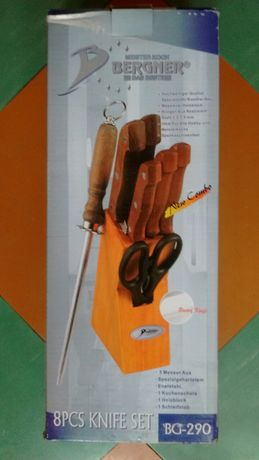 Nowy komplet noży w drewnianym bloku.