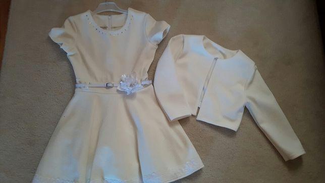 Sukienka strój Komunia przebranie 128 bolerko jak nowa